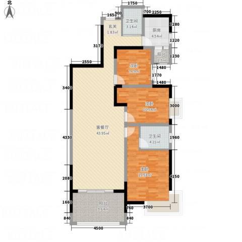 锦林俊域3室1厅2卫1厨125.00㎡户型图