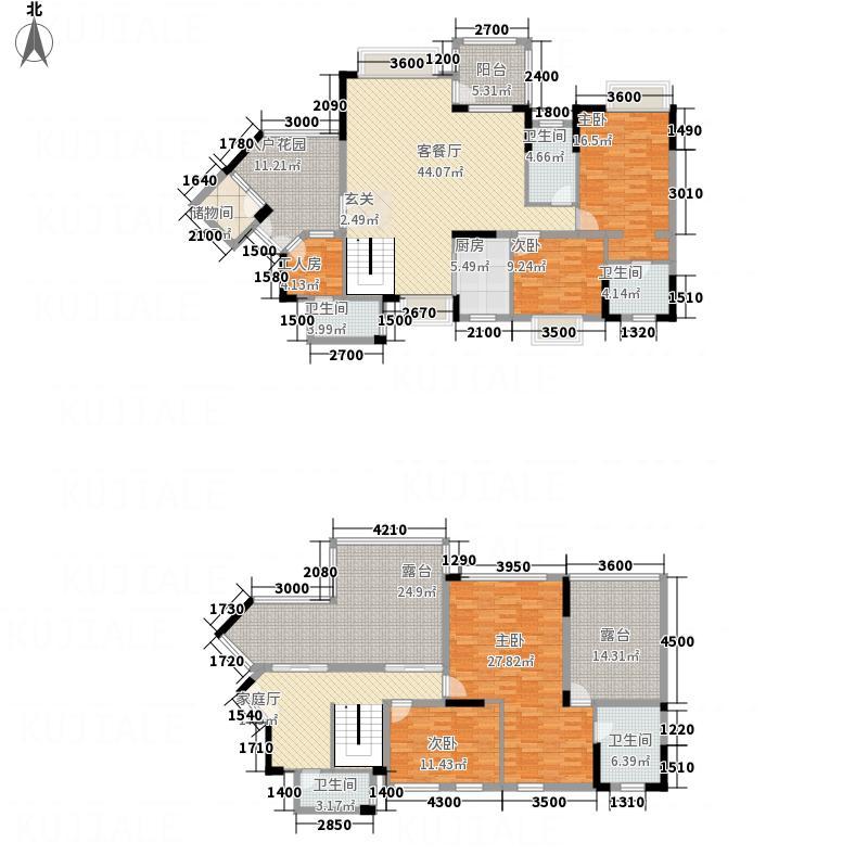 里维埃拉213.76㎡14I2型复式户型4室3厅5卫
