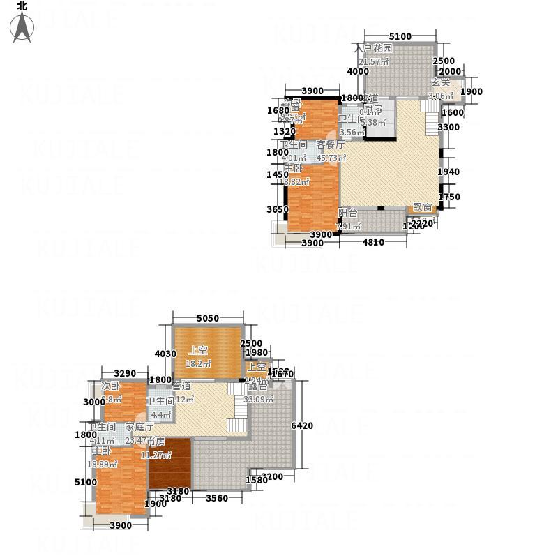 里维埃拉211.70㎡7F型复式户型5室3厅4卫