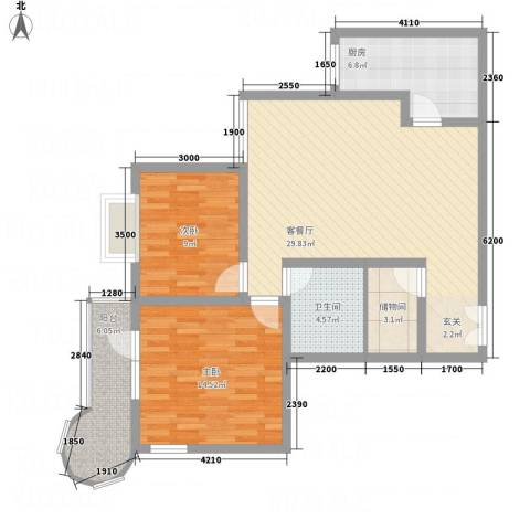 悦园豪庭2室1厅1卫1厨73.87㎡户型图