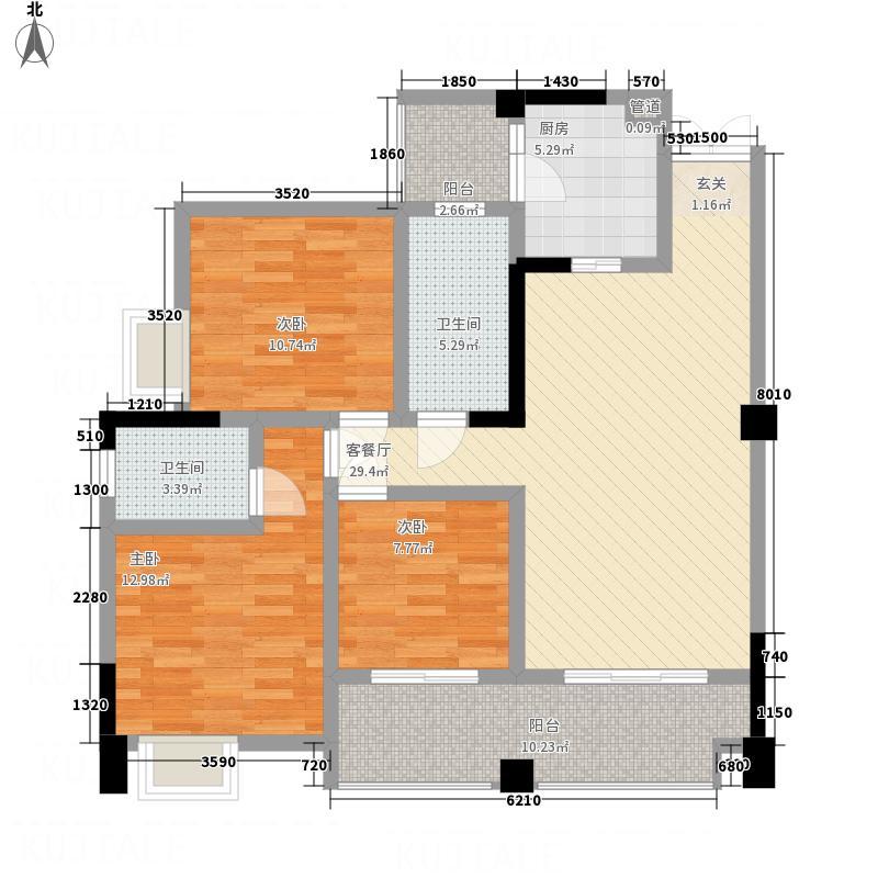 凤栖庭苑15.60㎡J2户型3室2厅1卫2厨