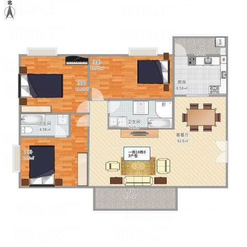 天英阳光翠苑3室1厅2卫1厨162.00㎡户型图