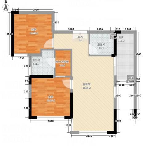 云立方2室1厅2卫1厨91.00㎡户型图