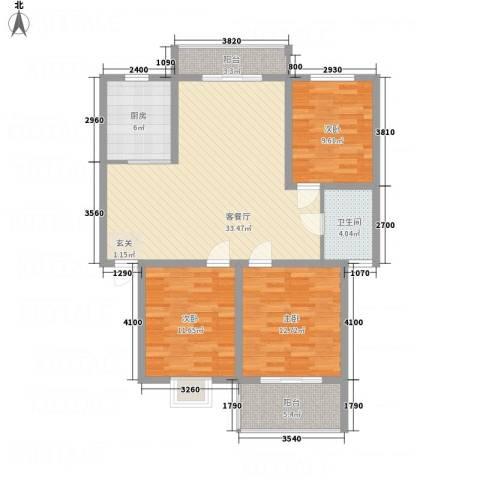 文锦苑3室1厅1卫1厨122.00㎡户型图
