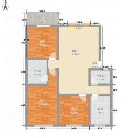 万西苑3室1厅2卫1厨141.00㎡户型图