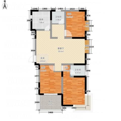 元丰宜家3室1厅2卫1厨136.00㎡户型图