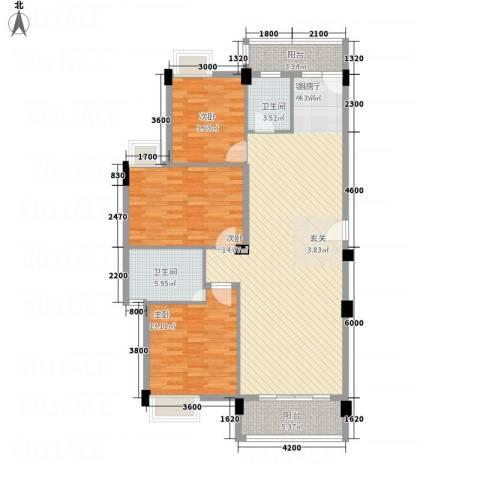 鸿鑫花园3室1厅2卫0厨101.88㎡户型图