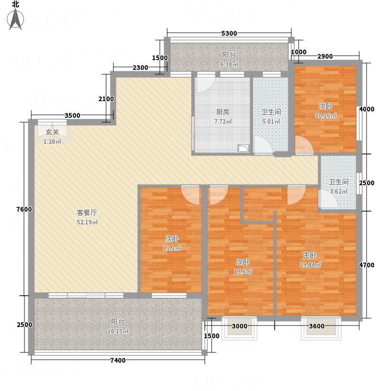 兴华广场181.40㎡A区D座D3A房户型4室2厅2卫1厨