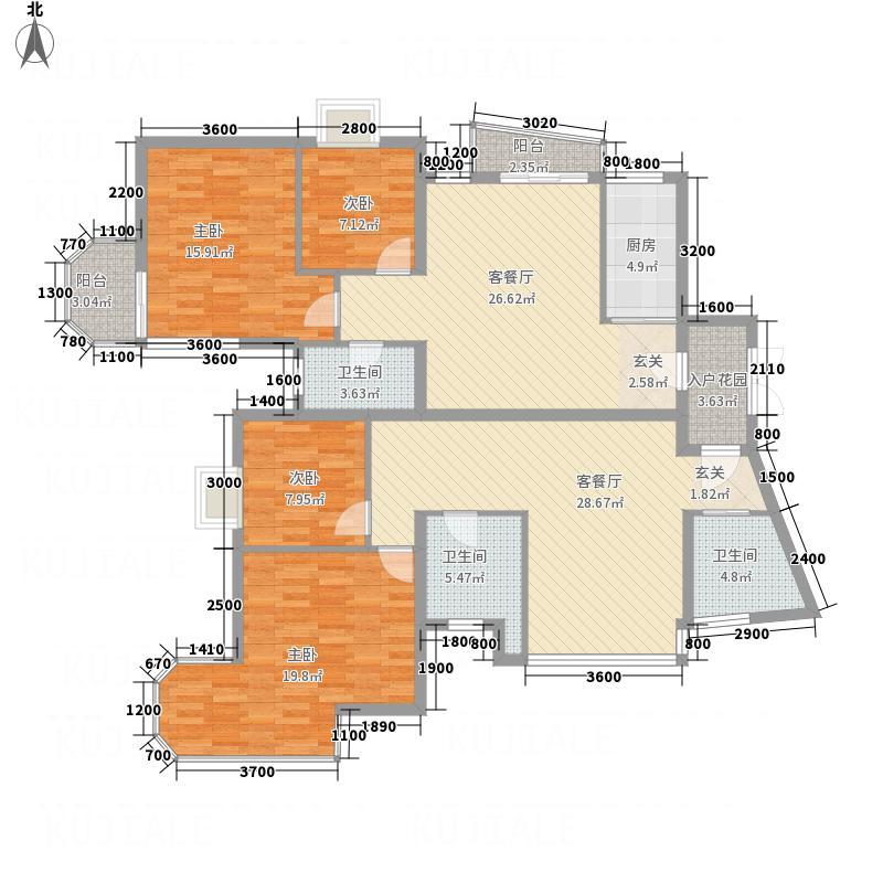 怀南苑H1户型4室2厅2卫1厨