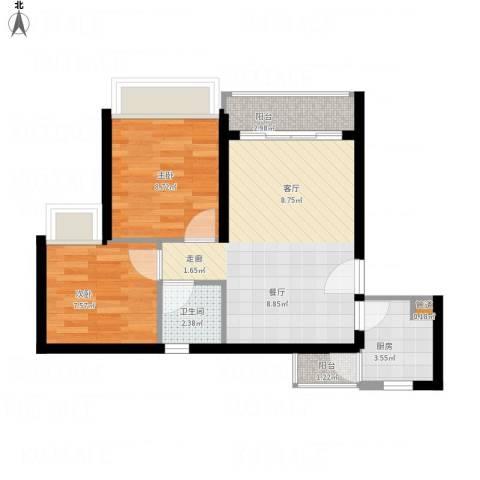 阳光四季2室1厅1卫1厨66.00㎡户型图