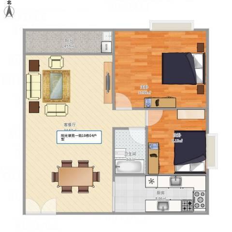 天英阳光翠苑一街10栋04户型2室1厅1卫1厨103.00㎡户型图