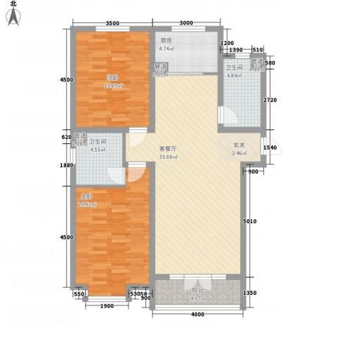 东方花园2室1厅2卫1厨82.23㎡户型图