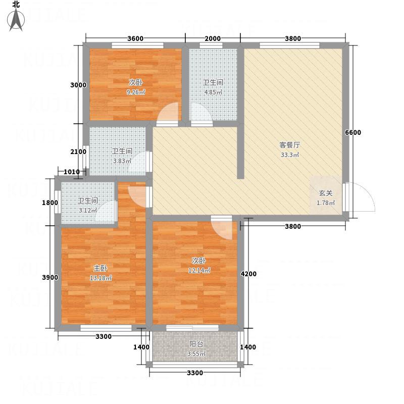 碧水湾经典A户型3室2厅2卫1厨