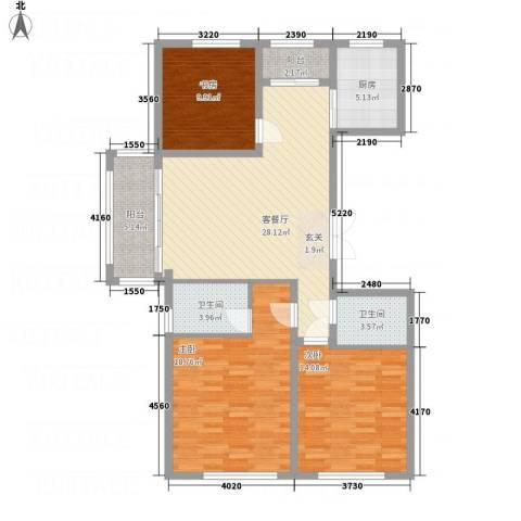城市假日花园3室1厅2卫1厨123.00㎡户型图