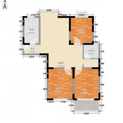 元丰宜家3室1厅1卫1厨95.38㎡户型图