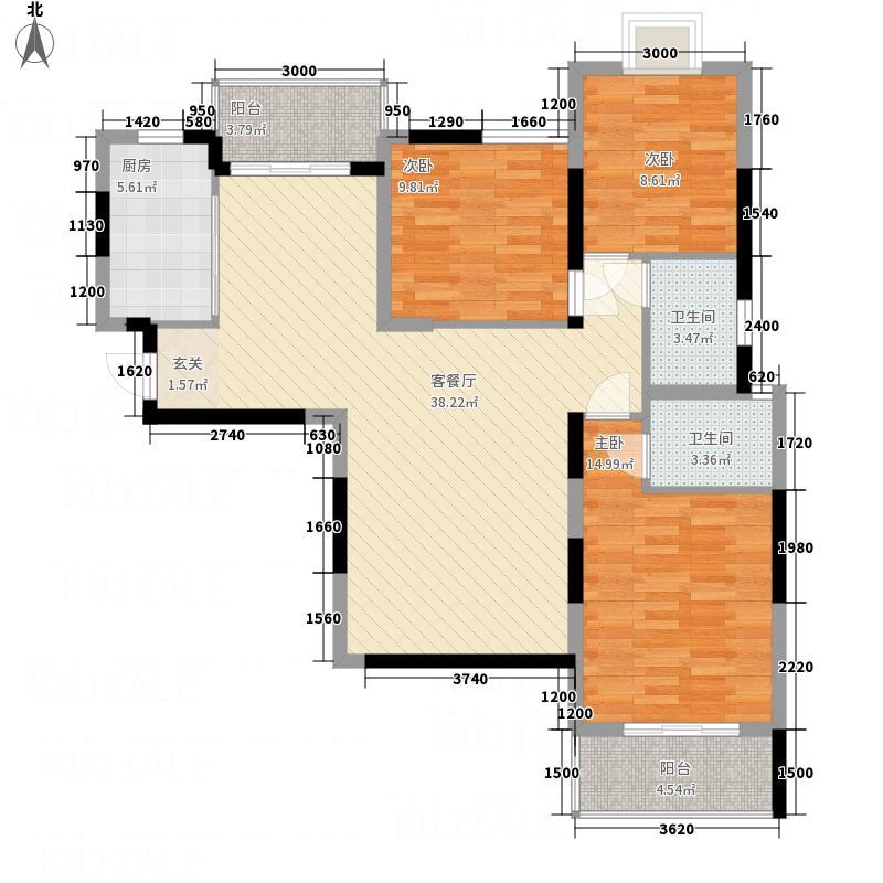 F空港中心城126.00㎡h4户型3室2厅2卫1厨