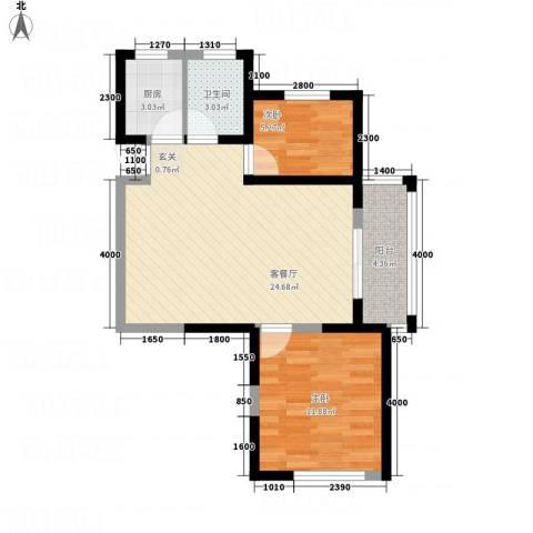 江苏省高级专家园2室1厅1卫1厨76.00㎡户型图