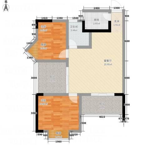 云鼎公馆二期2室1厅1卫1厨99.00㎡户型图