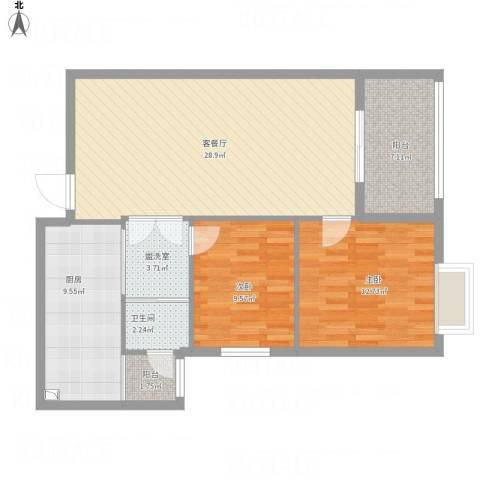 阳光新干线徐姐2室2厅1卫1厨106.00㎡户型图