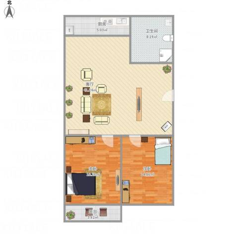 燕翅家园2室1厅1卫1厨118.00㎡户型图