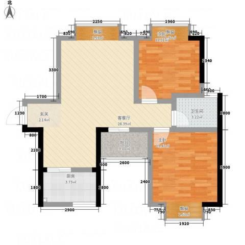 云鼎公馆二期2室1厅1卫1厨90.00㎡户型图