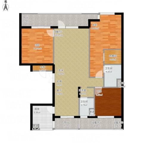 绿城御园3室1厅2卫1厨165.00㎡户型图