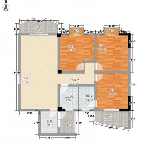 迎春水岸3室1厅2卫1厨155.00㎡户型图