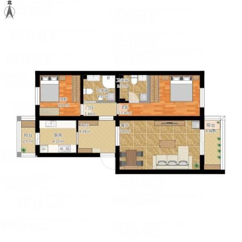 天通苑本四区2室1厅2卫1厨114.00㎡户型图