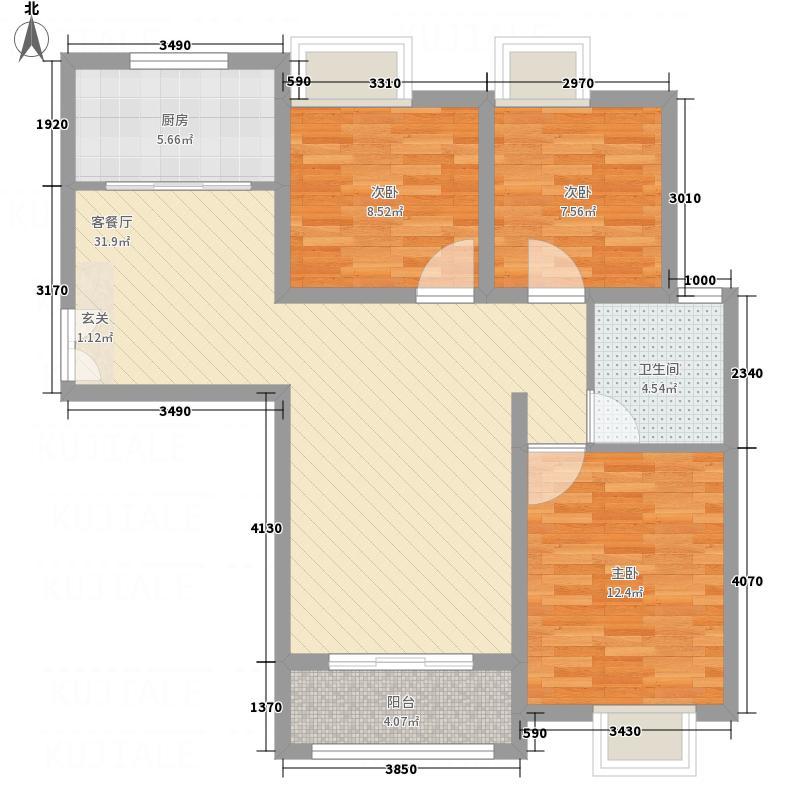 江北绿城17.00㎡IC户型3室2厅1卫1厨