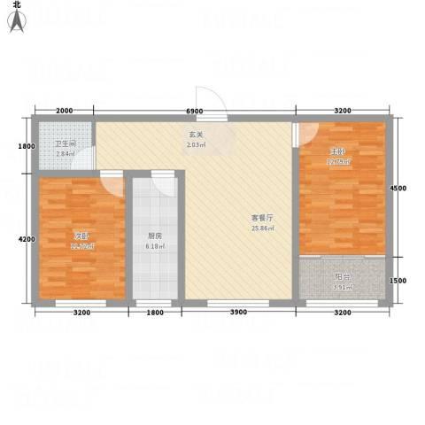 幸福湾2室1厅1卫1厨91.00㎡户型图