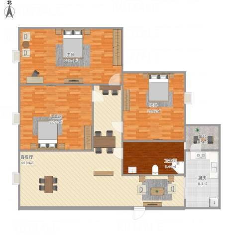 中玮海润广场3室1厅1卫1厨180.00㎡户型图