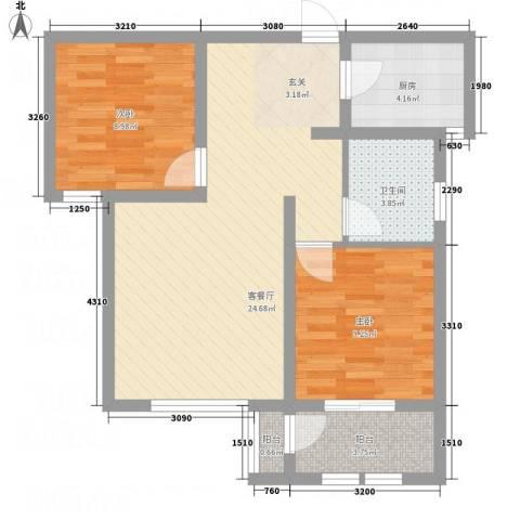 枫桦豪景2室1厅1卫1厨55.33㎡户型图