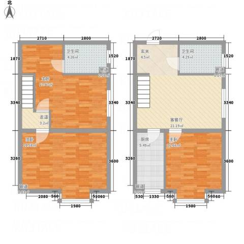 MOMA魔码二期5米43室1厅2卫1厨126.00㎡户型图