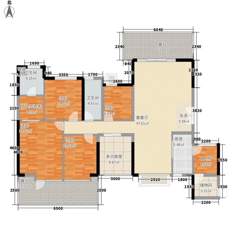 畔山御景花园17.80㎡6户型4室2厅2卫