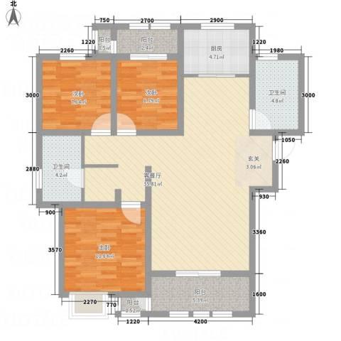 枫桦豪景3室1厅2卫1厨123.00㎡户型图