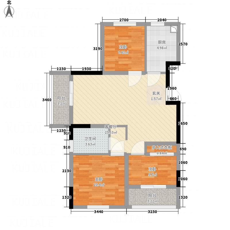 青特小镇5.00㎡7#、10#次中间户C户型3室2厅1卫1厨