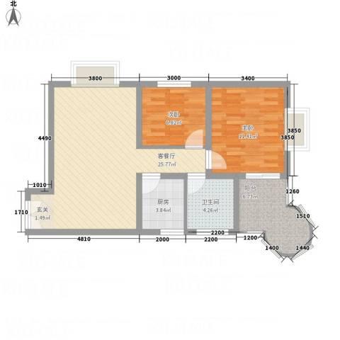 悦园豪庭2室1厅1卫1厨58.82㎡户型图