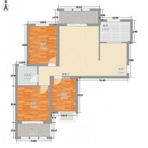 枫桦豪景3室1厅1卫1厨115.00㎡户型图