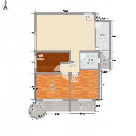 悦园豪庭3室1厅1卫1厨128.00㎡户型图