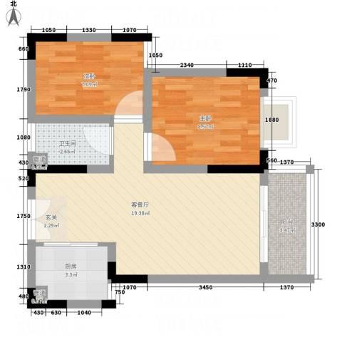 阳光枫情2室1厅1卫1厨66.00㎡户型图