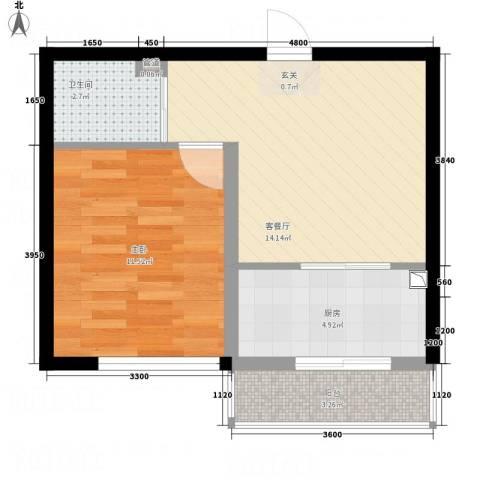 晟源御景湾1室1厅1卫1厨42.66㎡户型图
