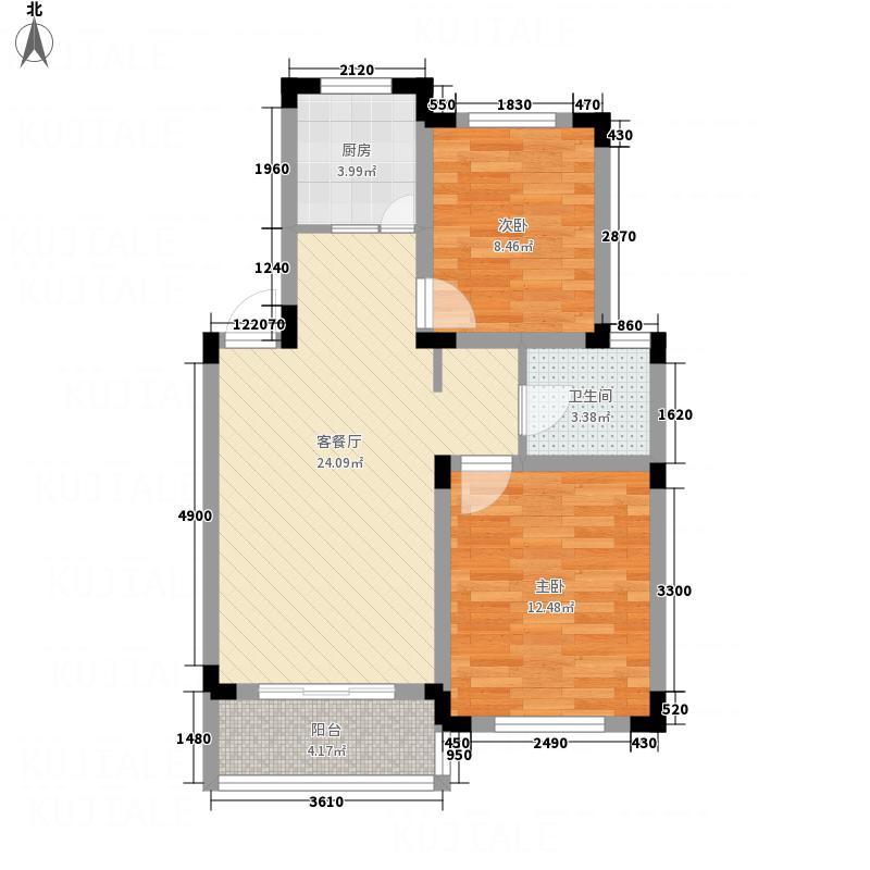 国展中央花园81.82㎡B1户型2室2厅1卫1厨