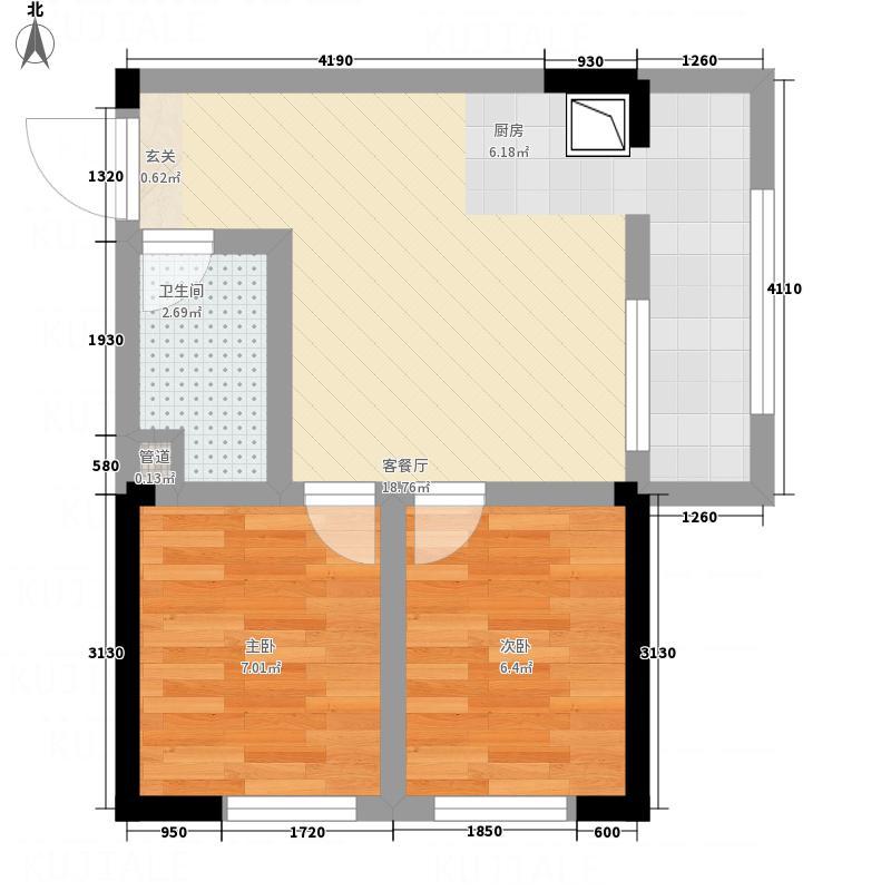 紫金名门52.80㎡C户型2室1厅1卫