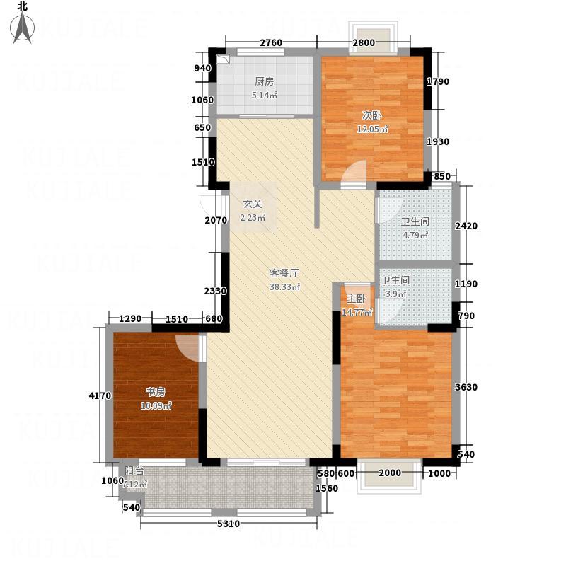 香江城137.00㎡户型3室2厅2卫1厨
