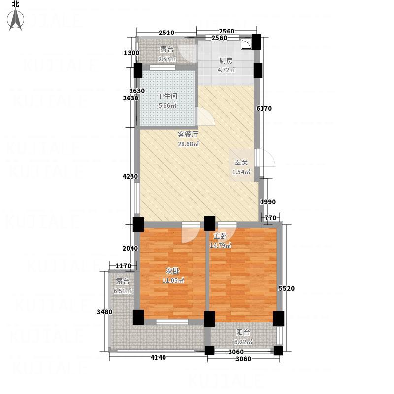 鑫域蓝湾77.00㎡户型2室2厅1卫