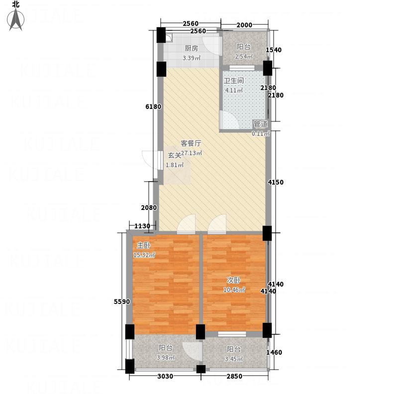 鑫域蓝湾76.00㎡户型2室2厅1卫