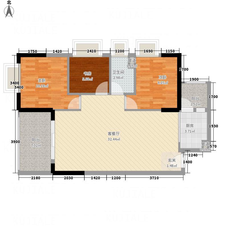 世纪名门6.34㎡2栋02户型3室2厅