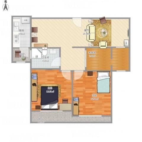 瑞景国际2室1厅1卫1厨98.00㎡户型图