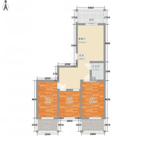 幸福苑3室1厅1卫1厨79.17㎡户型图