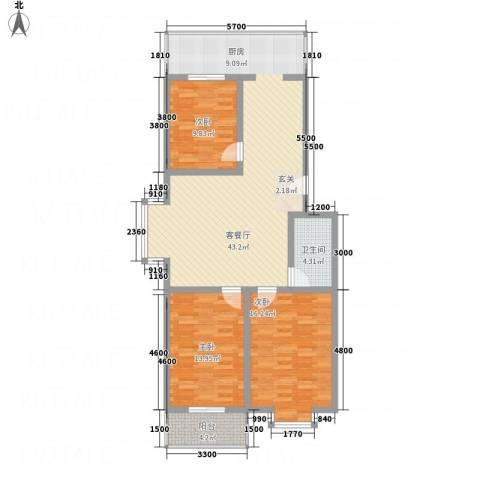 宝嘉龙庭3室1厅1卫0厨91.72㎡户型图